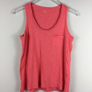 Madewell crew neck coral pocket tank